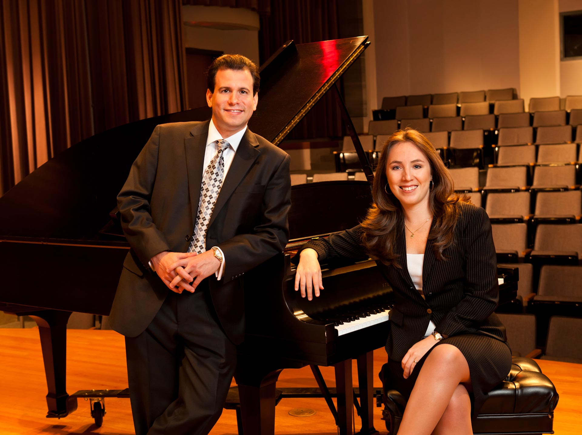 Latin American pianists Dr. Fabiana Claure and Dr. William Villaverde